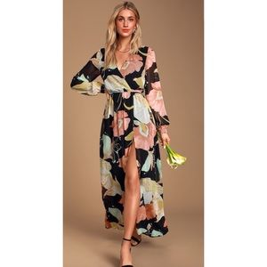 Lulus floral black maxi dress with leg slit